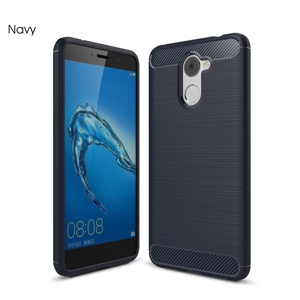 Чехол накладка для Huawei Y7 Prime 2017 силиконовый, Carbon Fiber, темно-синий