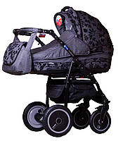 Универсальная коляска Adamex ENDURO LEN 274W серый(черные цветы) 10119