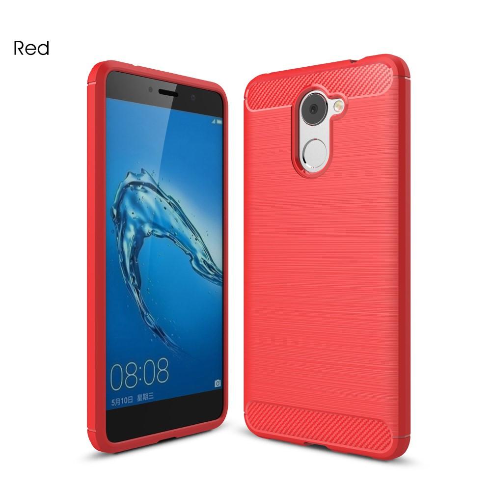 Чехол накладка для Huawei Y7 Prime 2017 силиконовый, Carbon Fiber, красный