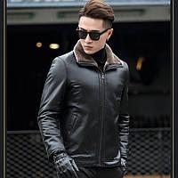 Мужская зимняя дубленка, натуральная кожа, мех. Модель 6301
