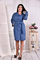 Голубое платье- рубашка