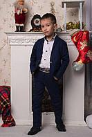 """Детский стильный костюм для мальчиков """"Лен"""" (брюки+пиджак) 2196 / темно-синий"""