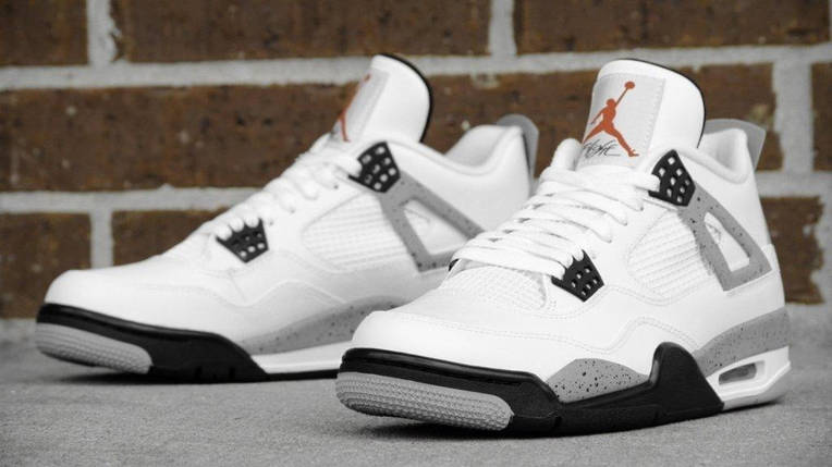 Мужские баскетбольные кроссовки Nike Air Jordan IV Retro White Black,  реплика, супер качество! e8dbf057a49
