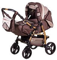 Детская коляска-трансформер Adamex Galaxy Drifting (поворотные колёса) коричневый лен-т.бежевое плетение 60891