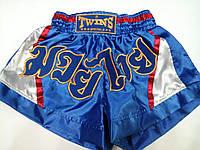 """Шорты для тайского бокса """"Элит"""" р-р S,атлас (сине-белые) сс3345."""