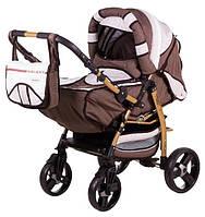 Детская коляска-трансформер Adamex Galaxy Drifting (поворотные колёса) шоколад лен-белый-беж цветочки 60885