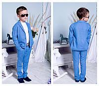 """Детский стильный костюм для мальчиков """"Лен"""" (брюки+пиджак) 2196 / голубой"""