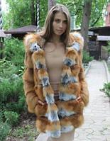 Шуба из меха лисы с капюшоном , фото 1