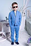 """Подростковый стильный костюм для мальчиков """"Лен"""" (брюки+пиджак) 2196 / голубой"""
