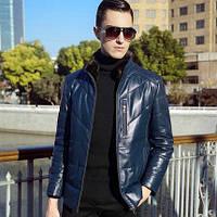 Мужская кожаная куртка со съемным меховым воротником. Модель 6303