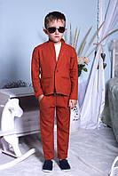 """Подростковый стильный костюм для мальчиков """"Лен"""" (брюки+пиджак) 2196 / кирпичный"""
