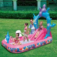Детский надувной игровой центр - бассейн с горкой Русалочка Ариэль BestWay 91051