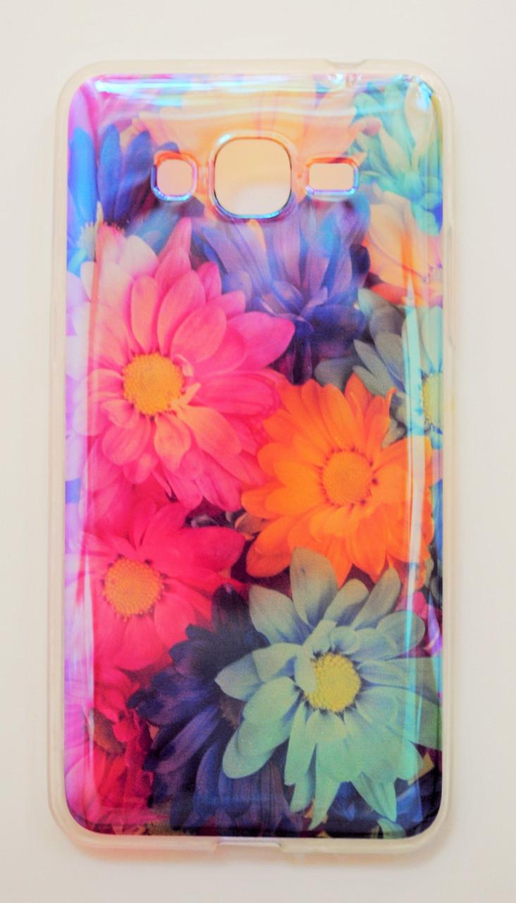 Чехол на Самсунг Galaxy Grand Prime G530H Силикон под углом Блестит Полупрозрачный Цветы