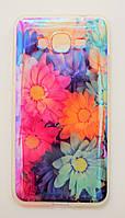 Чехол на Самсунг Galaxy Grand Prime G530H Силикон под углом Блестит Полупрозрачный Цветы, фото 1