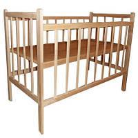 Кроватка детская ольха без лака простая (два положения дна) Кроватная Фабрика КФ 304