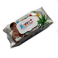 Влажные салфетки Bravo 72 шт, (большая упаковка), пластиковый клапан Ромашка