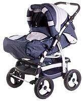 Детская коляска-трансформер Adamex Galaxy т.синий лен-белая кожа 620315