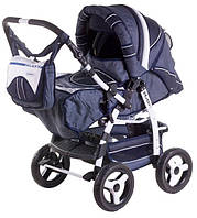 Детская коляска-трансформер Adamex Galaxy т.синий лен-т.синяя строчка-белый 620318