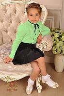 Салатовая блуза рубашка в школу девочкам р. 140 Тм Милана 140