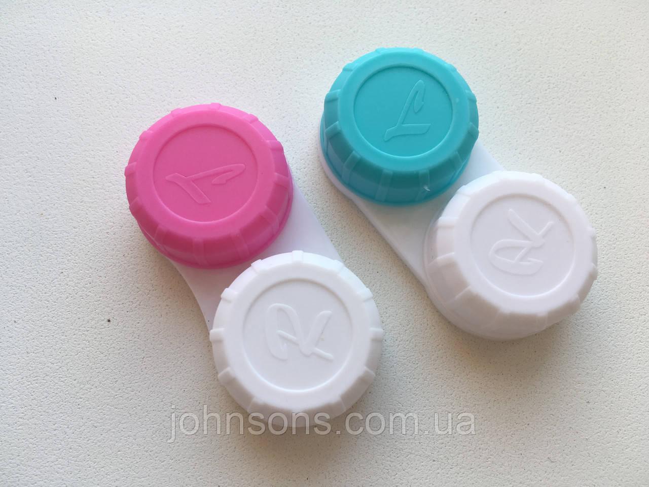 Контейнер для контактных линз белый с голубым