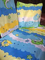 Детский комплект постельного белья в кроватку Дельфинчик