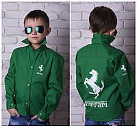 """Детская стильная рубашка """"Ferrari"""" для мальчиков 828 / зеленая"""