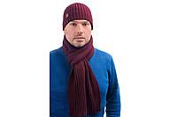 Комплект мужской шапка и шарф зимний модный