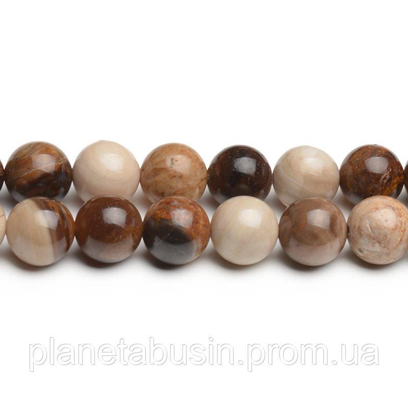 8 мм Древесный Агат, CN275, Натуральный камень, Форма: Шар, Отверстие: 1мм, кол-во: 47-48 шт/нить