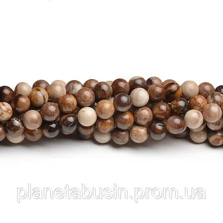8 мм Древесный Агат, CN275, Натуральный камень, Форма: Шар, Отверстие: 1мм, кол-во: 47-48 шт/нить, фото 2
