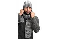 Комплект мужской шапка и шарф зимний