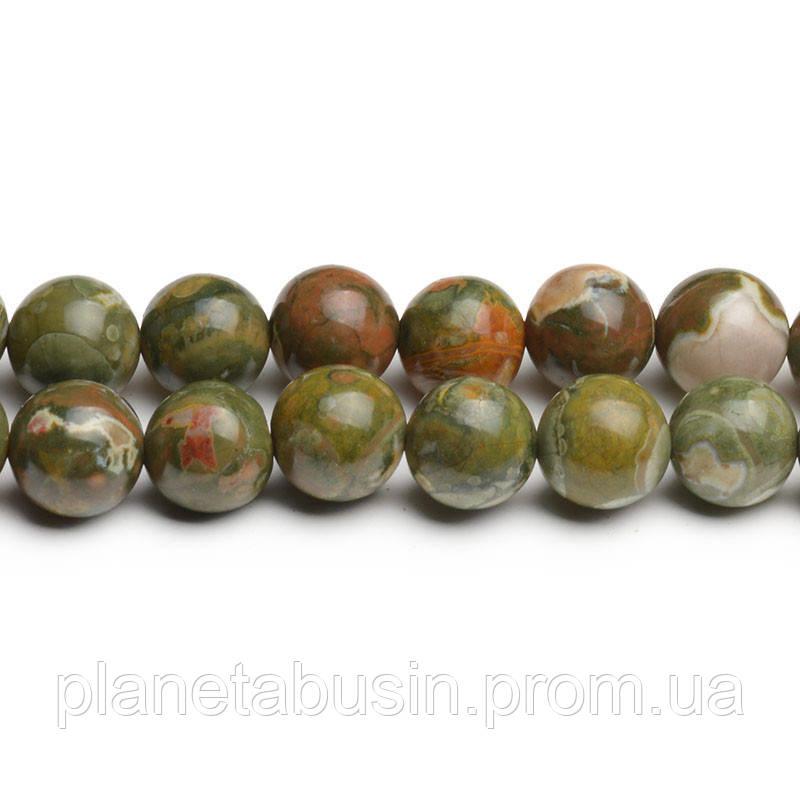 8 мм Риолит Зелёный, CN276, Натуральный камень, Форма: Шар, Отверстие: 1мм, кол-во: 47-48 шт/нить