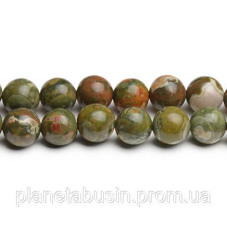 8 мм Риолит Зелёный, CN276, Натуральный камень, Форма: Шар, Отверстие: 1мм, кол-во: 47-48 шт/нить, фото 2