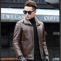 Мужская зимняя дубленка, натуральная кожа, мех. Модель 6304