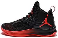 """Баскетбольные кроссовки Air Jordan Super Fly 5 """"Black/Infrared"""" Аир Джордан высокие черные"""