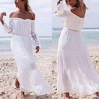 Платье женское белое шифоновое длинное с открытыми плечами и ажурными рукавами