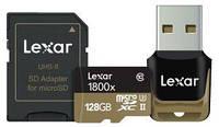 Карта памяти Lexar Pro 128GB microSDXC UHS-II U3 R270/W110MB/s 4K + SD + USB reader (В наличии на складе)
