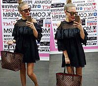Платье женское черное с воланом