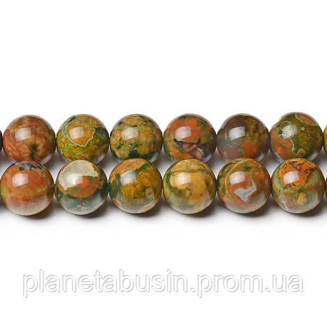 8 мм Риолит, CN277, Натуральный камень, Форма: Шар, Отверстие: 1мм, кол-во: 47-48 шт/нить, фото 2
