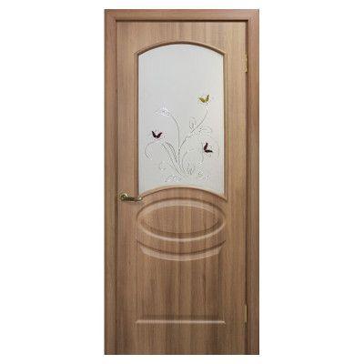Двери межкомнатные ОМиС «Лика ПВХ» (полотно со стеклом с контурным рисунком)