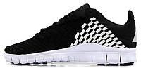 Мужские кроссовки Nike Free Inneva Woven Black/White (найк фри) черные с белым