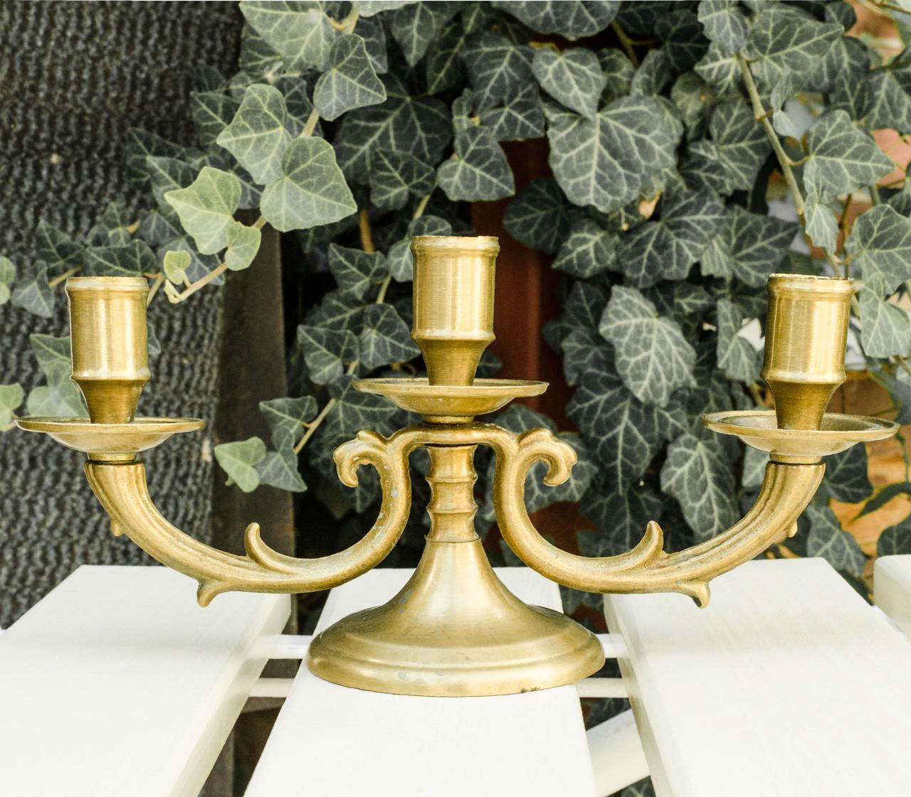 Старый подсвечник на три свечи, канделябр, бронза, Германия