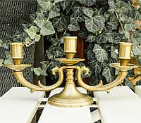 Старый подсвечник на три свечи, канделябр, бронза, Германия, фото 1