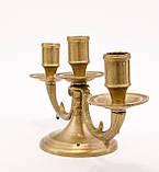 Старий свічник на три свічки, канделябр, бронза, Німеччина, фото 5