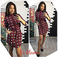 Шелковое платье-рубашка с поясом и принтом