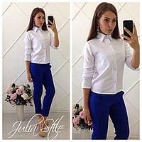 Костюм белая блуза с рукавом и синие брюки 5П334