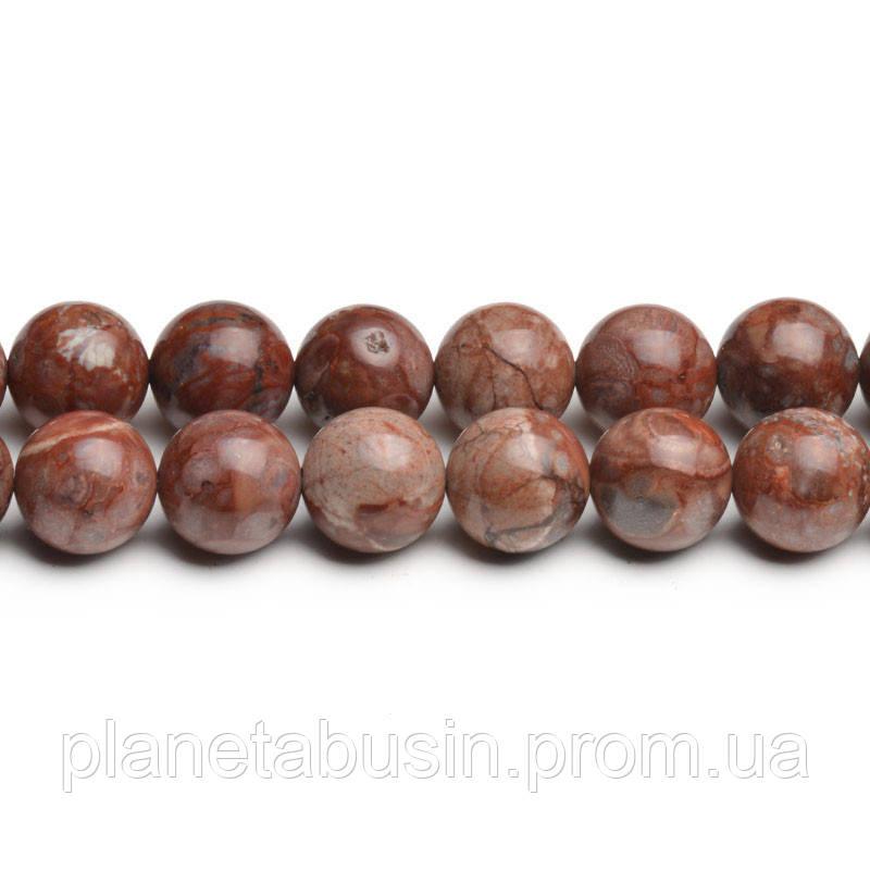 8 мм Гранитная Яшма, CN281, Натуральный камень, Форма: Шар, Отверстие: 1мм, кол-во: 47-48 шт/нить