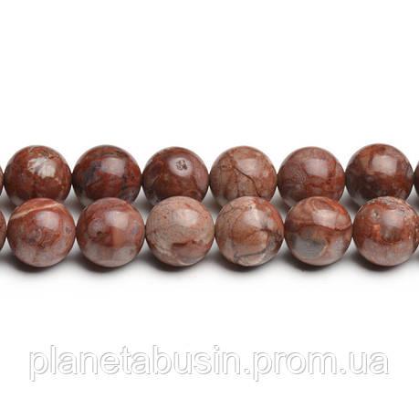 8 мм Гранитная Яшма, CN281, Натуральный камень, Форма: Шар, Отверстие: 1мм, кол-во: 47-48 шт/нить, фото 2