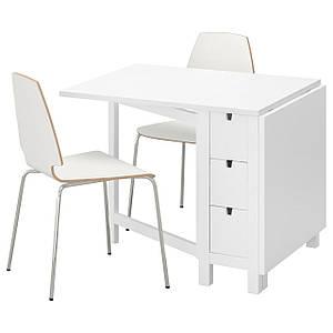 NORDEN /ВИЛМАР Стол и 2 стула, белый, белый