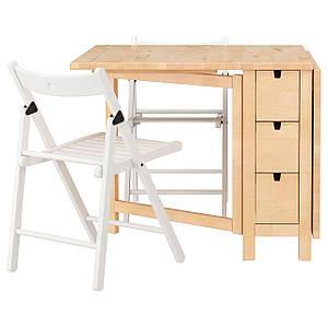 НОРДЕН /ТЕРЬЕ Стол и 2 стула, береза, белый