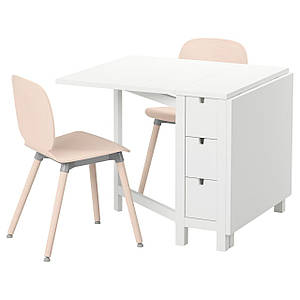 NORDEN /SVENBERTIL Стол и 2 стула, белый, береза